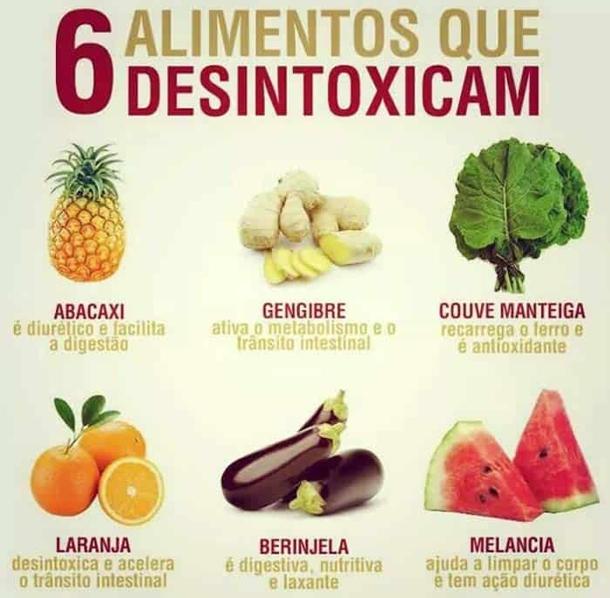 alimentos-que-desintoxicam Receitas de Sucos DETOX